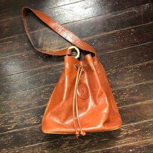 Vintage leather bucket bag brown